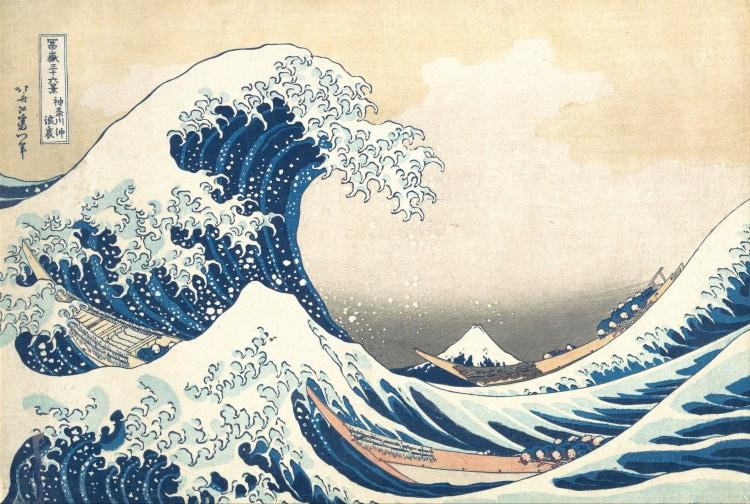 The great waves of Kanagawa by Hokusai is one of the most famous wood-block paintings of all times