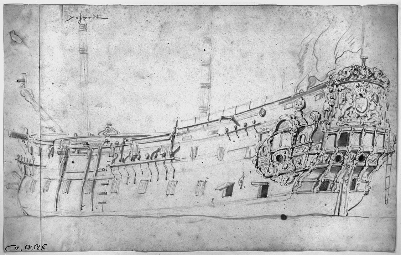 HMS Portsmouth, 48-gun fourth-rate, built 1650, by Willem van de Velde (Royal Museums Greenwich)