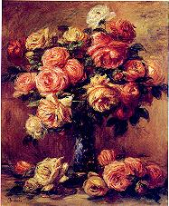 Renoir's painting of cabbage roses, Roses in a...