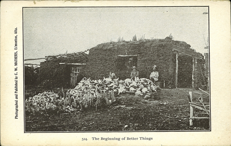 Two men sit outside of a sod house with log framing. In front of them is a large pile of buffalo skulls and bones