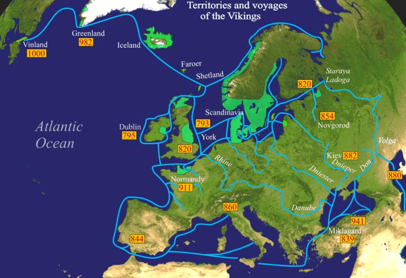 Wikinger-Gebiete im 1. Jahrtausend