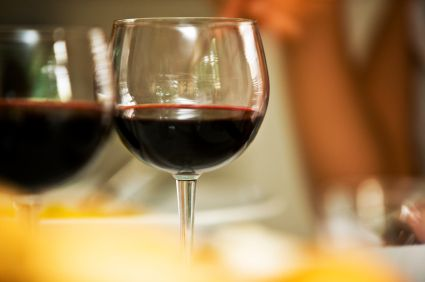Glass of unidentified red wine