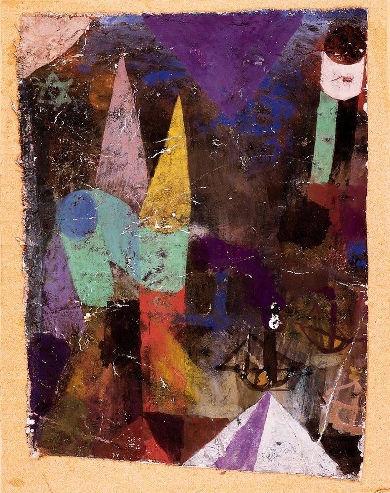 Hafenbild Nachts Vue Nocturne dun port 1917 Gouache et huile sur papier enduit de craie et colle 21 x 155 cm SBG Klee