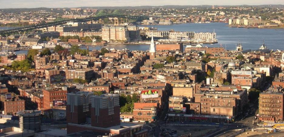 North End Boston aerial view