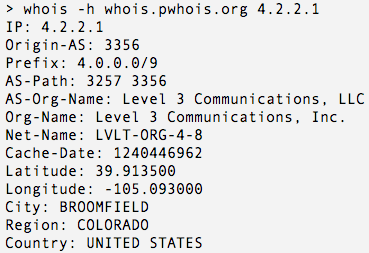 Example Prefix WhoIs query
