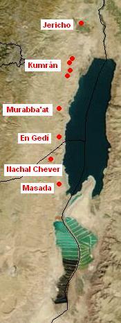 Česky: Mapa nálezů Svitků od Mrtvého moře