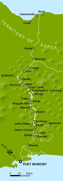A map of the Kokoda Trail/Track as it was in 1...