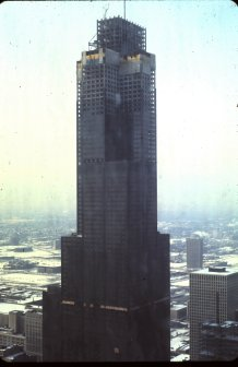 The Sears Tower under construction.