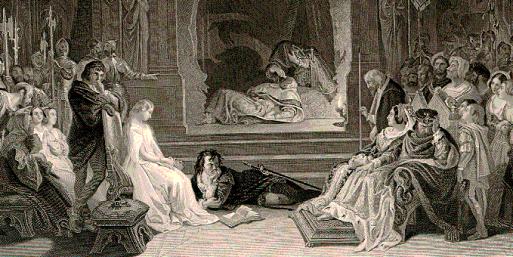 Ilustración de Daniel Maclise (1806-1870) para Os traballos de Shakspeare, Imperial edition, NY 1875-1876.