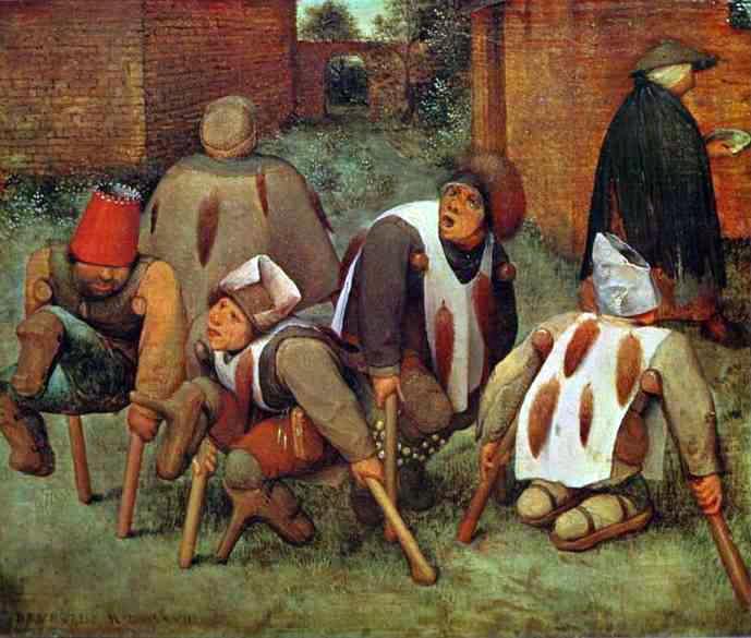 Pieter Bruegel den äldre - Krymplingarna (1568, olja på pannå)
