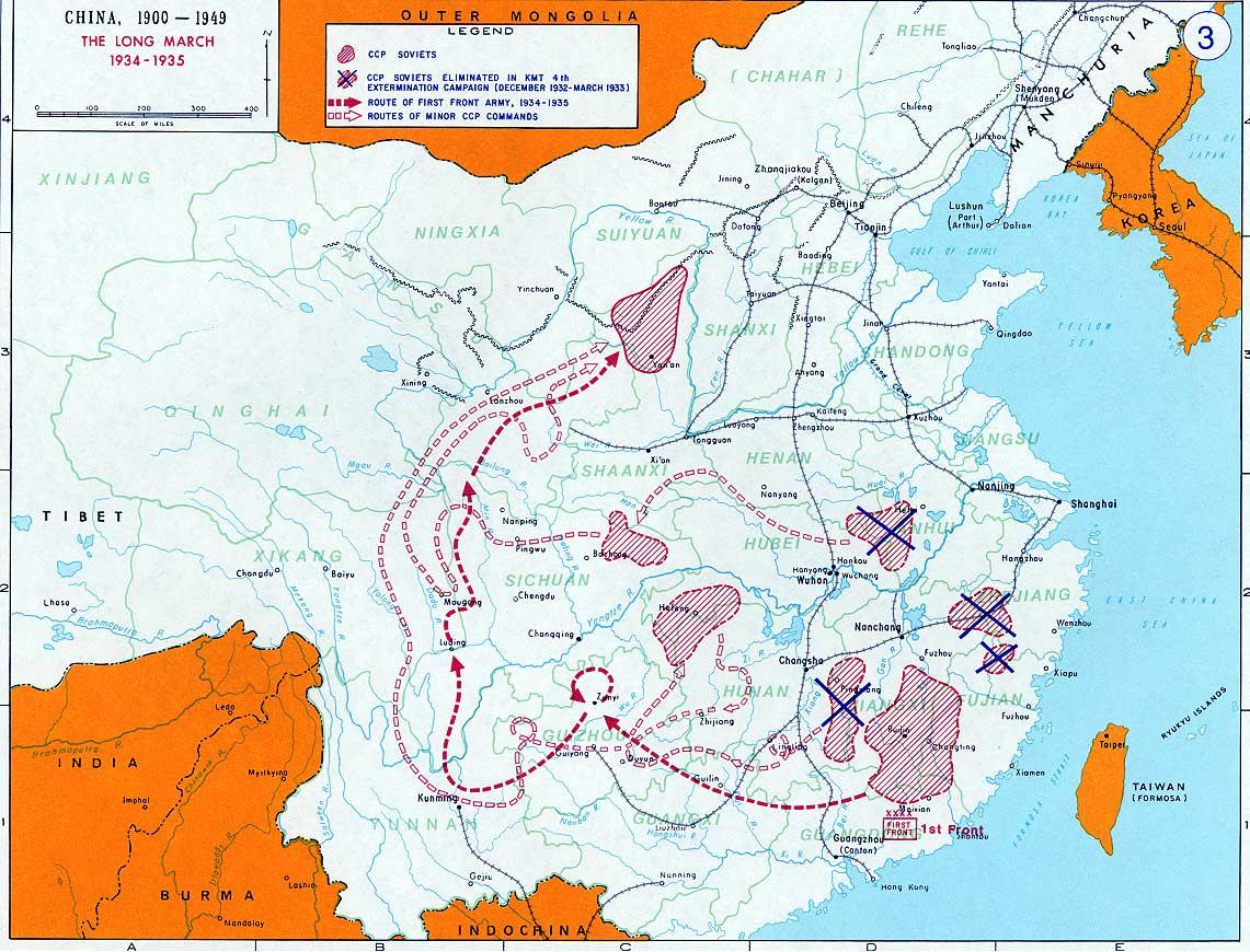 La longue marche traversa les Marches tibétaines. Les missionnaires furent surtout confrontés à la Ie armée de Front de Zhu De et à la IVe armée de Front de Xu Xiangqian.