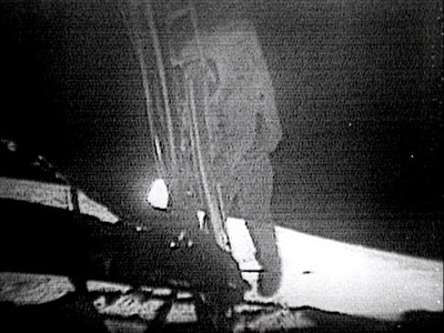 Still frame from video transmission of Neil Ar...