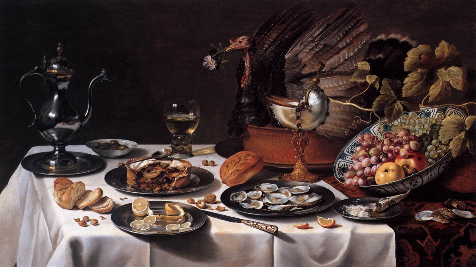 Still Life with Turkey Pie - 1627 - by Pieter Claesz