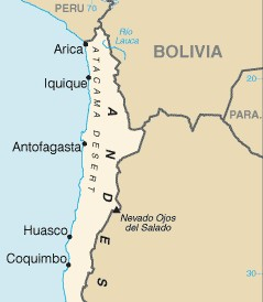 English: Map of Atacama Desert