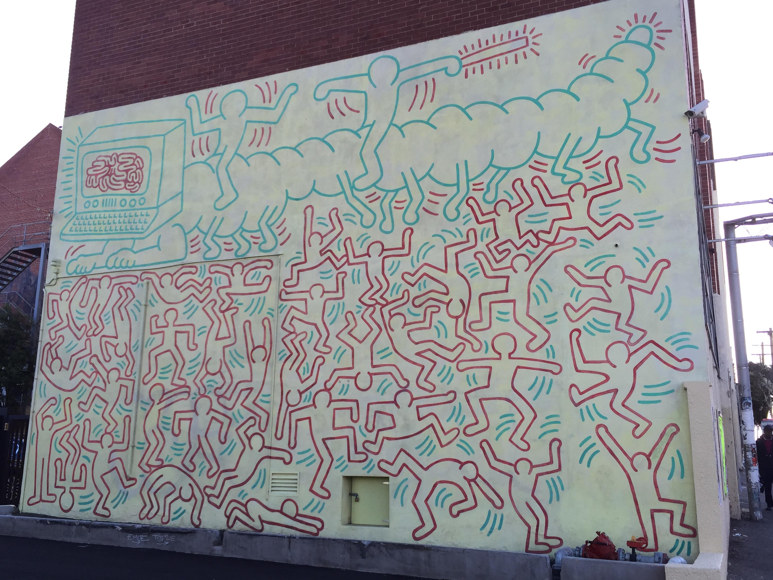 Riproduzione di keith haring intitolata la danza, con dimensioni : Keith Haring Mural Wikipedia