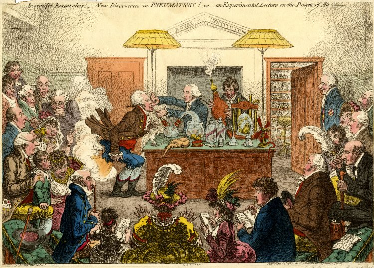 """""""New Discoveries in Pneumatics"""" - Sir Humphry Davy lectures the Royal Institution"""