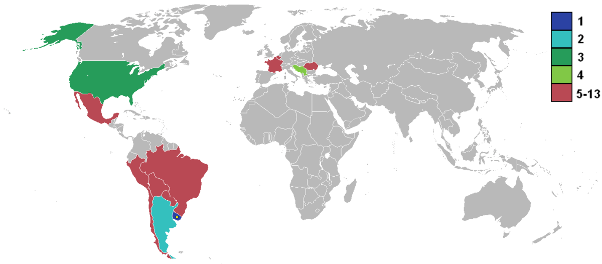 Map of the world showing first ever world cup competitors