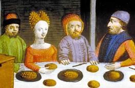 Frumenty, a type of grain porridge, and possibly colored with saffron (or egg yolk).~Barthélémy l'Anglais, Livre des propriétés des choses, 15th century.