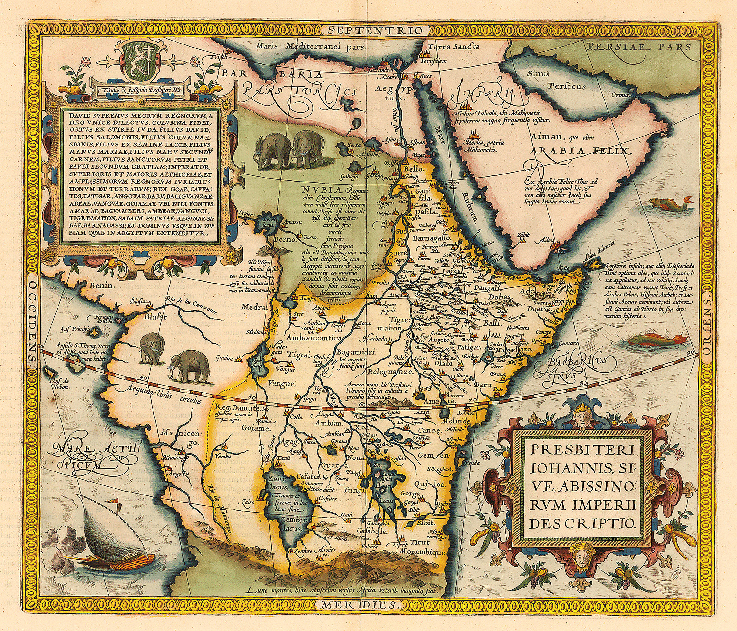 map of Prester John by Ortelius. A map of Prester John's kingdom as Ethiopia 1573