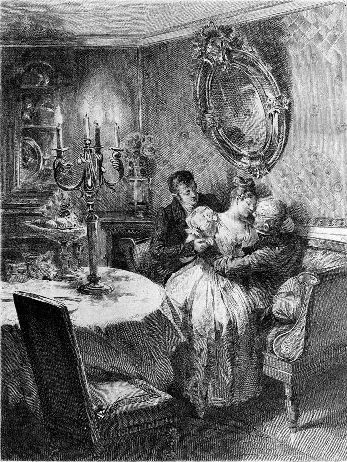 Delphine de Nucingen entre Eugène de Rastignac et son père, le vieux Goriot