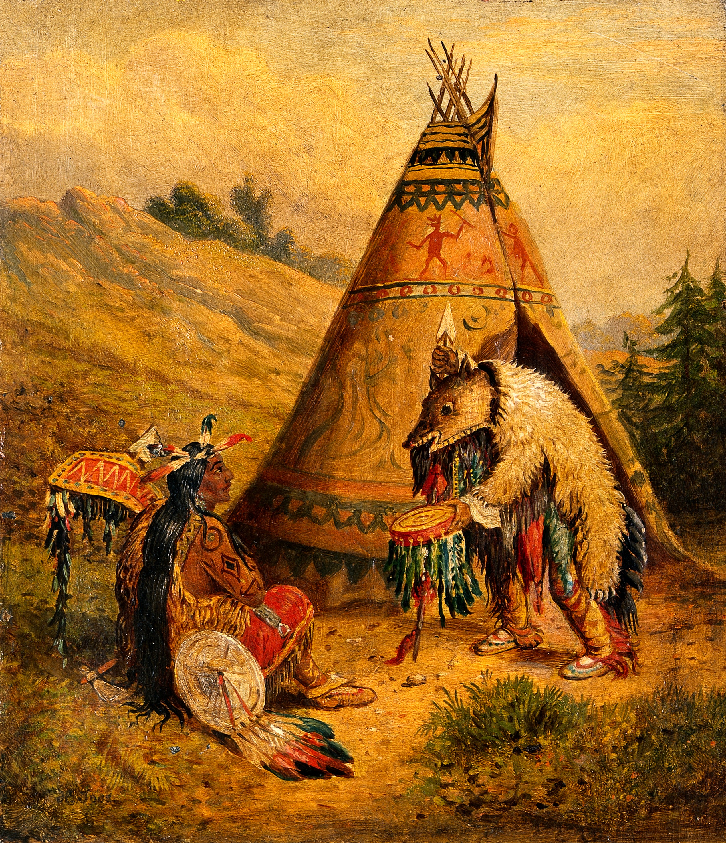 File An American Indian Medicine Man Oil Painting