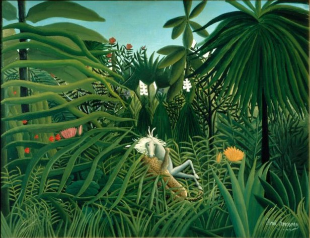 """Horse Attacked by a Jaguar"" by Henri Rousseau"
