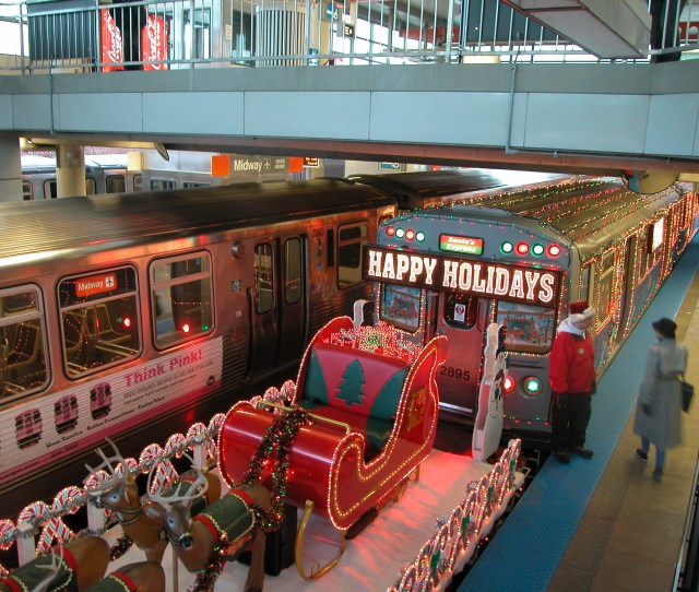 The Cta Holiday Train In  The Open Air Flatcar
