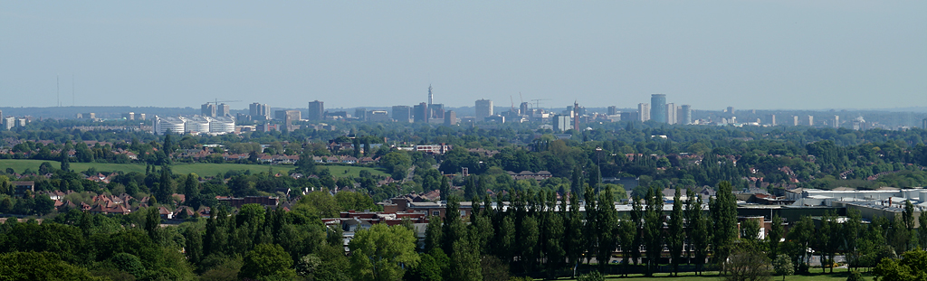 English: Birmingham seen from the Lickey Hills...