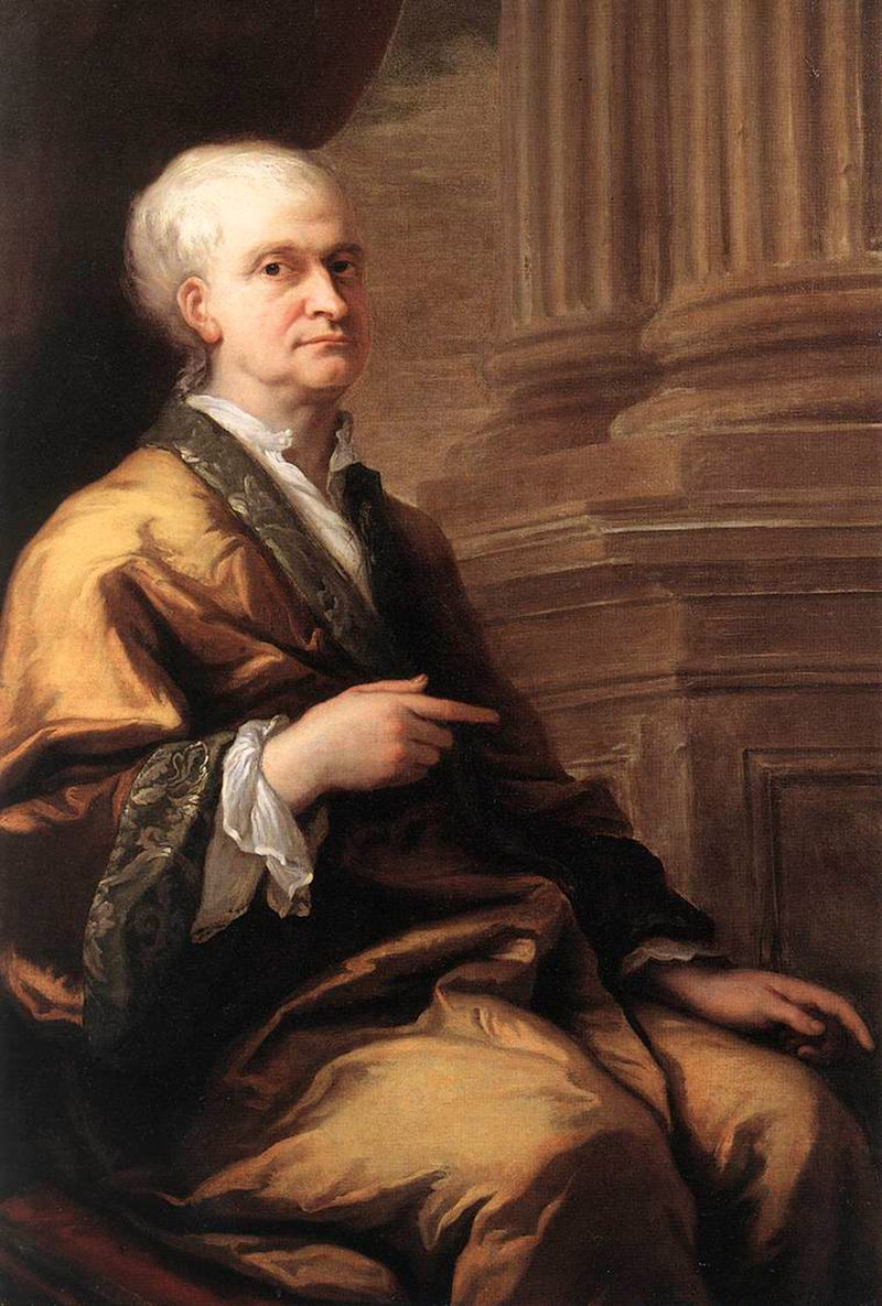 Isaac Newton in old age in 1712, portrait by S...