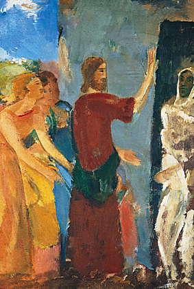 Jesus uppväcker Lazarus, målning av Karl Isaks...