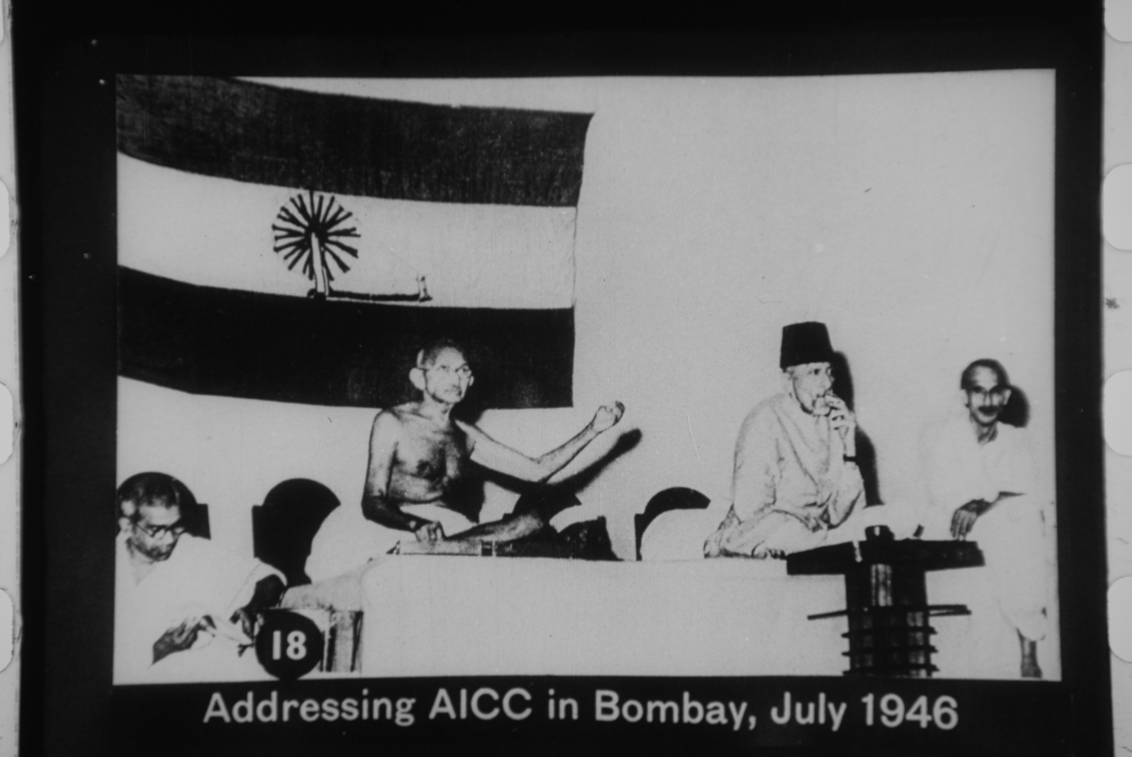 Gandhi addressing AICC in Bombay, July 1946.