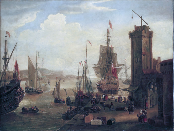 English and Dutch ships taking on stores at port by Jacob Knyff.