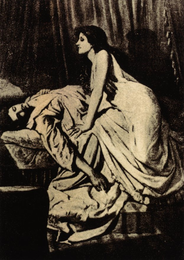 Philip Burne-Jones, The Vampire, 1897. A portrait in which femme-fatale figure perches over the dormant body of another person.