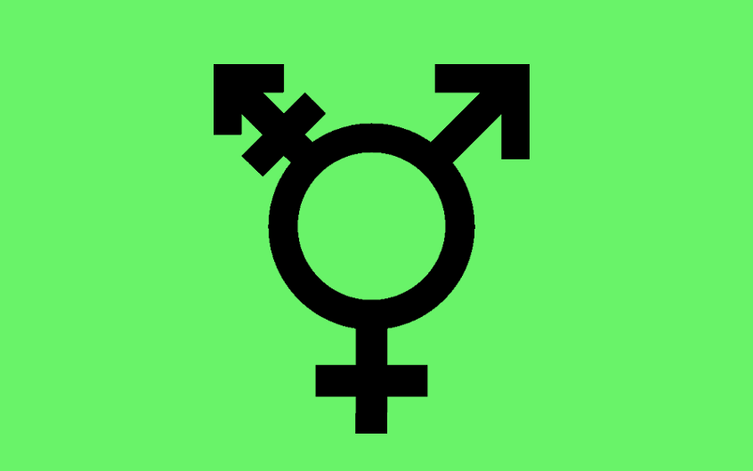 transgender symbol with a green background