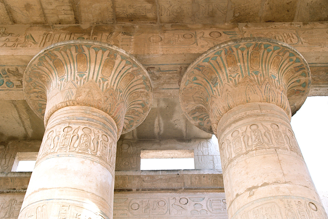 File Luxor West Bank Ramesseum Column Top Decorations
