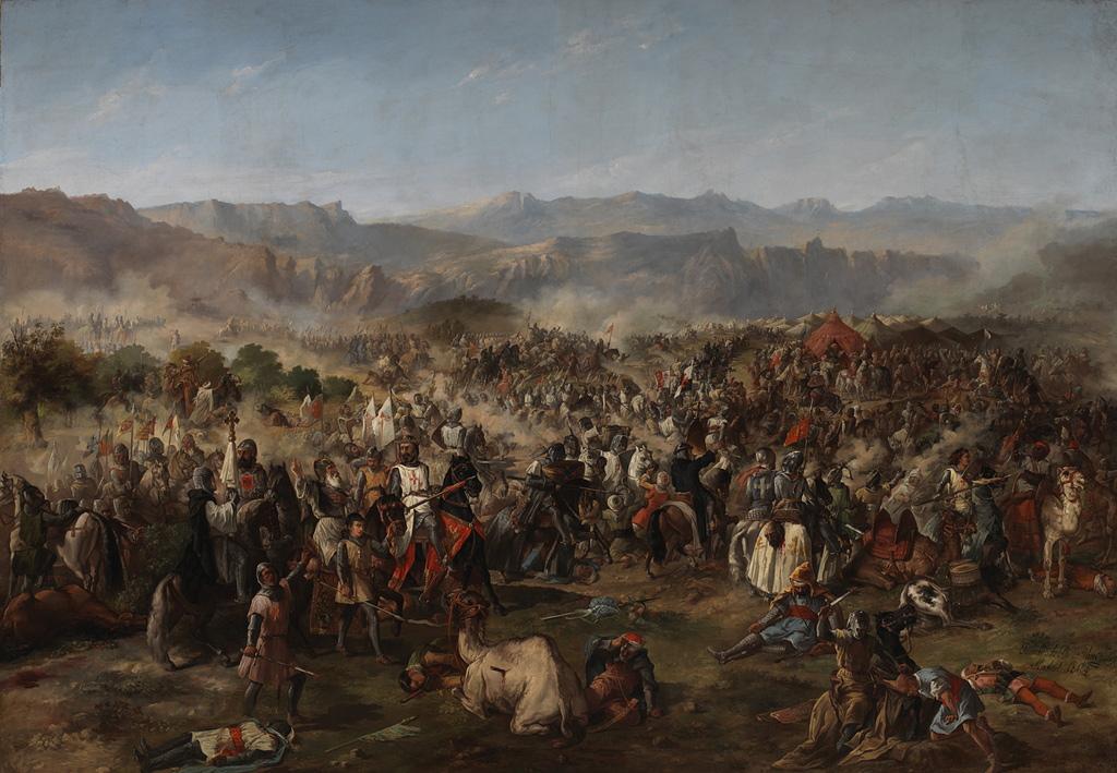 Batalla dCuadro de la batalla de  Las Navas de Tolosa, de Van Halen, expuesta en el palacio del Senado (Madrid)