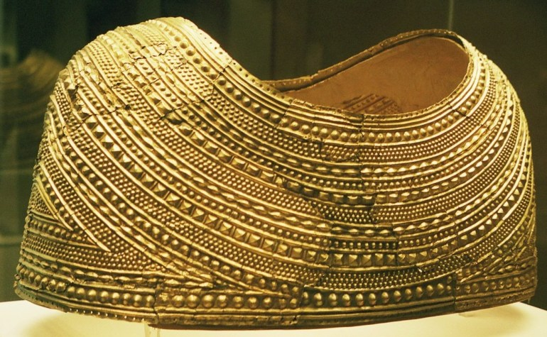 An example of an Bronze Age treasure from Wales: the Mold gold cape. circa 1900-1600 BC/ From Mold, Flintshire, North Wales