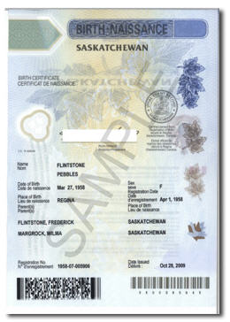 English: ISC Birth Certificate