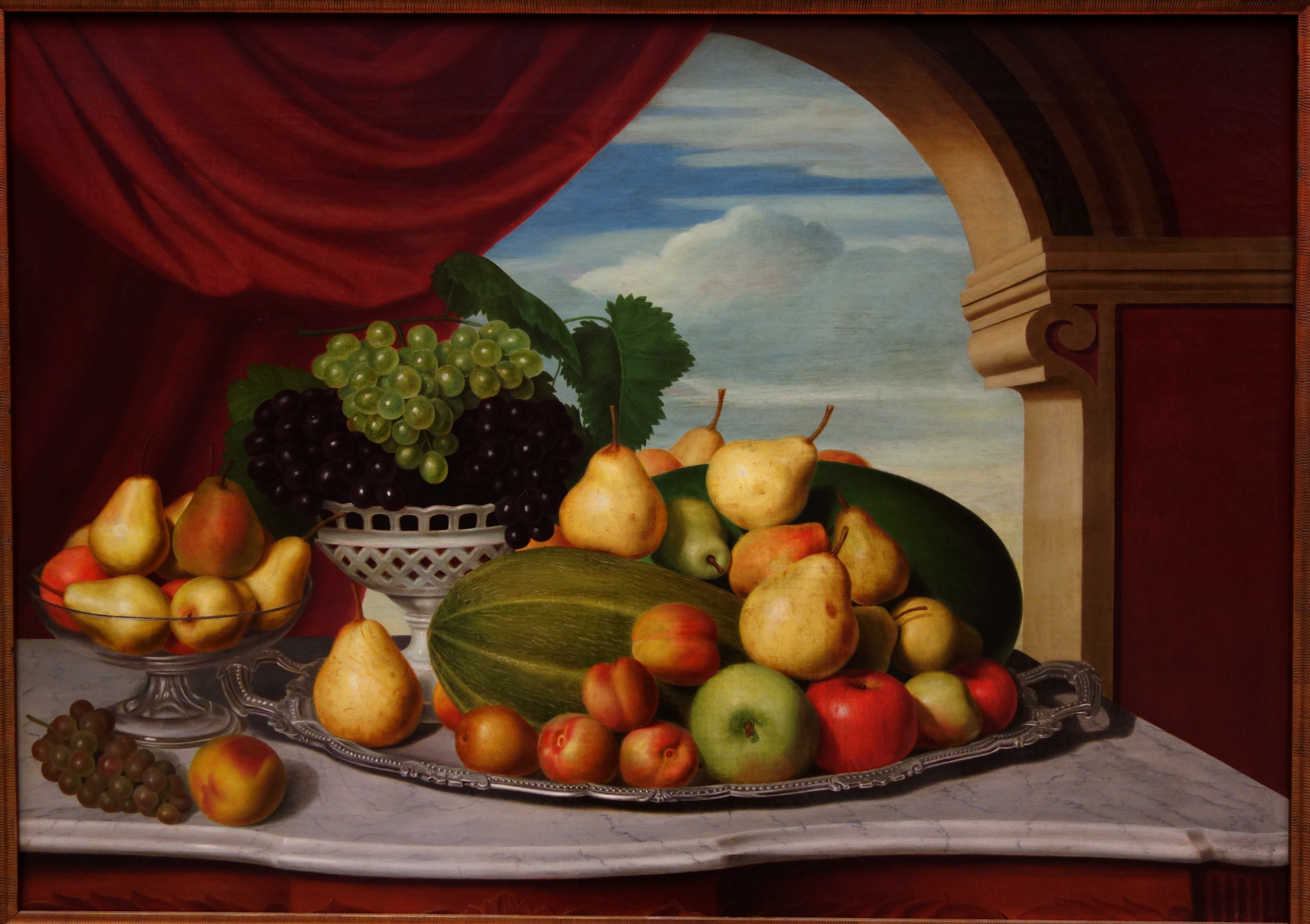 File Still Life Fruit In A Classical Setting By John