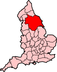 A map of Yorkshire within England