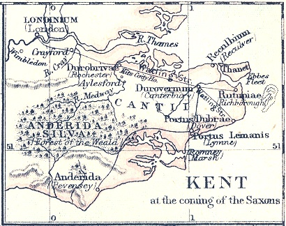 Map of Kent and Sussex showing Pevensey and the Isle of Thanet