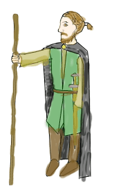 English: Person with a walking stick