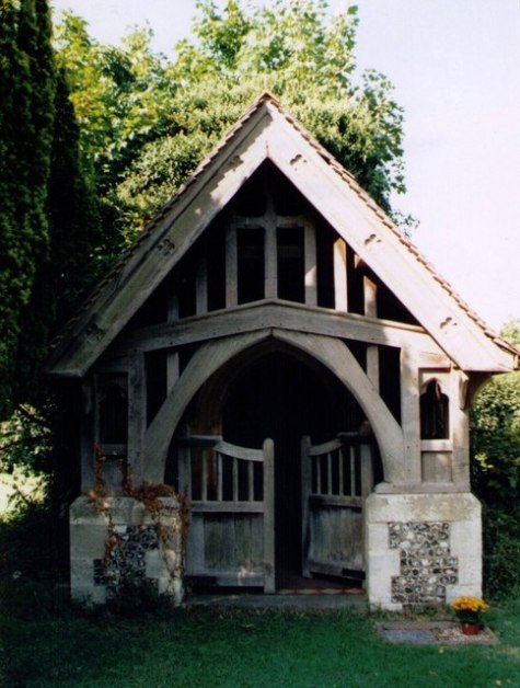 Lychgate of the former Church of England parish church St Michael, St Michael's Lane, Sulhamstead Bannister, Berkshire