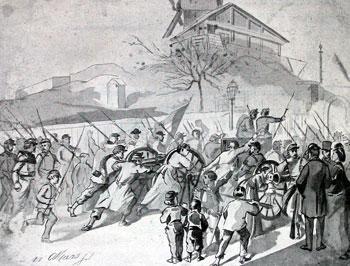 Les canons du 18 mars passant aux mains des insurgés