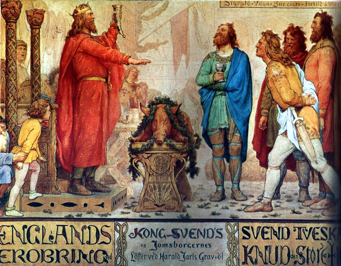 Sweyn and the Jomsvikings at the funeral ale of his father Harald Bluetooth by Lorenz Frølich, 1886 (Wikimedia Commons)