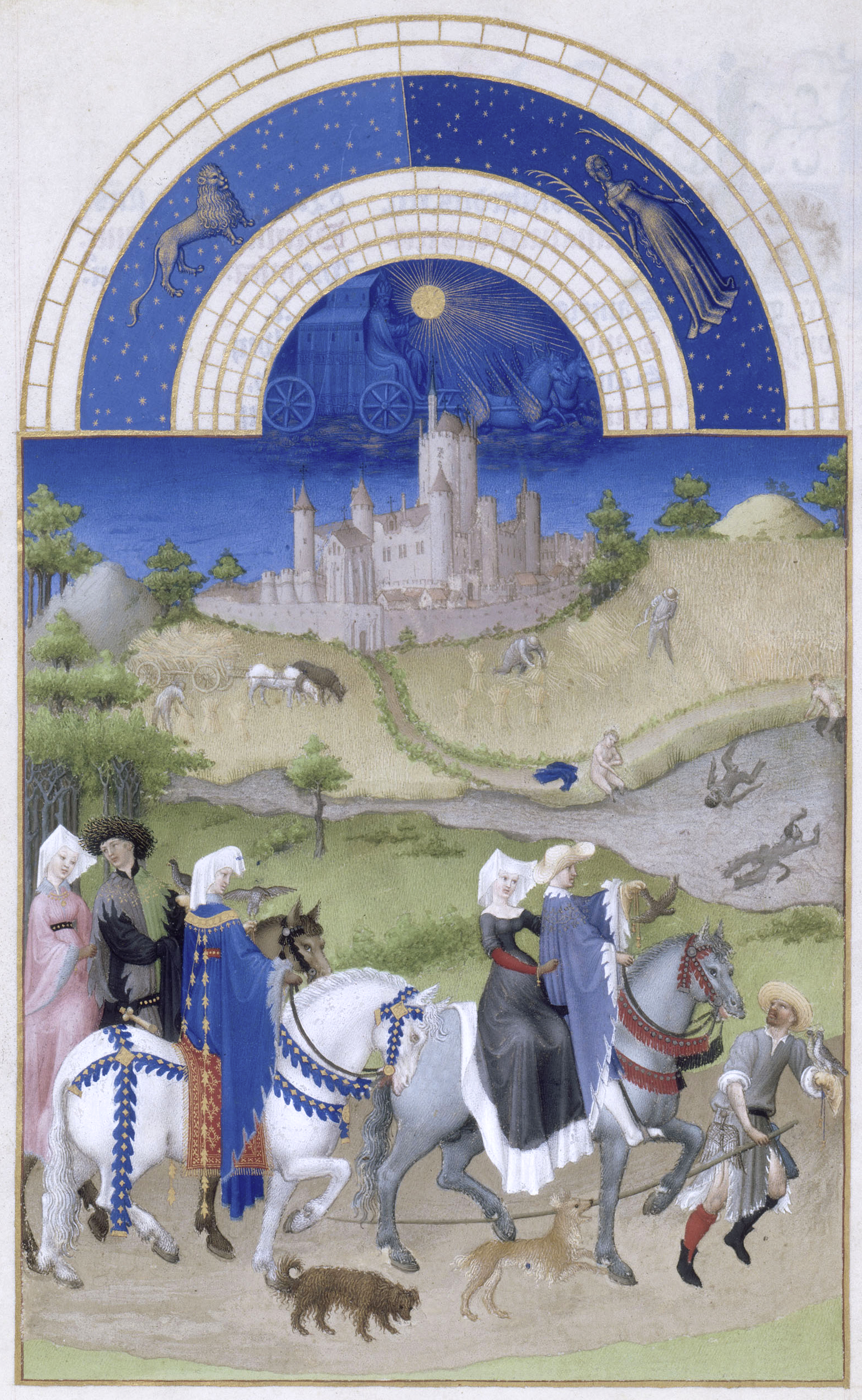 "Limbourg Brothers, ""The Book of Hours."" Falconry, bathing."