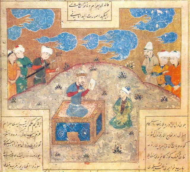 Painter Mani presenting king Bahram-Gur with his drawing. 16th century painting of Shakrukhia (Tashkent)