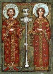 constantin et Hélène portant la Vraie Croix du Christ à Jérusalem