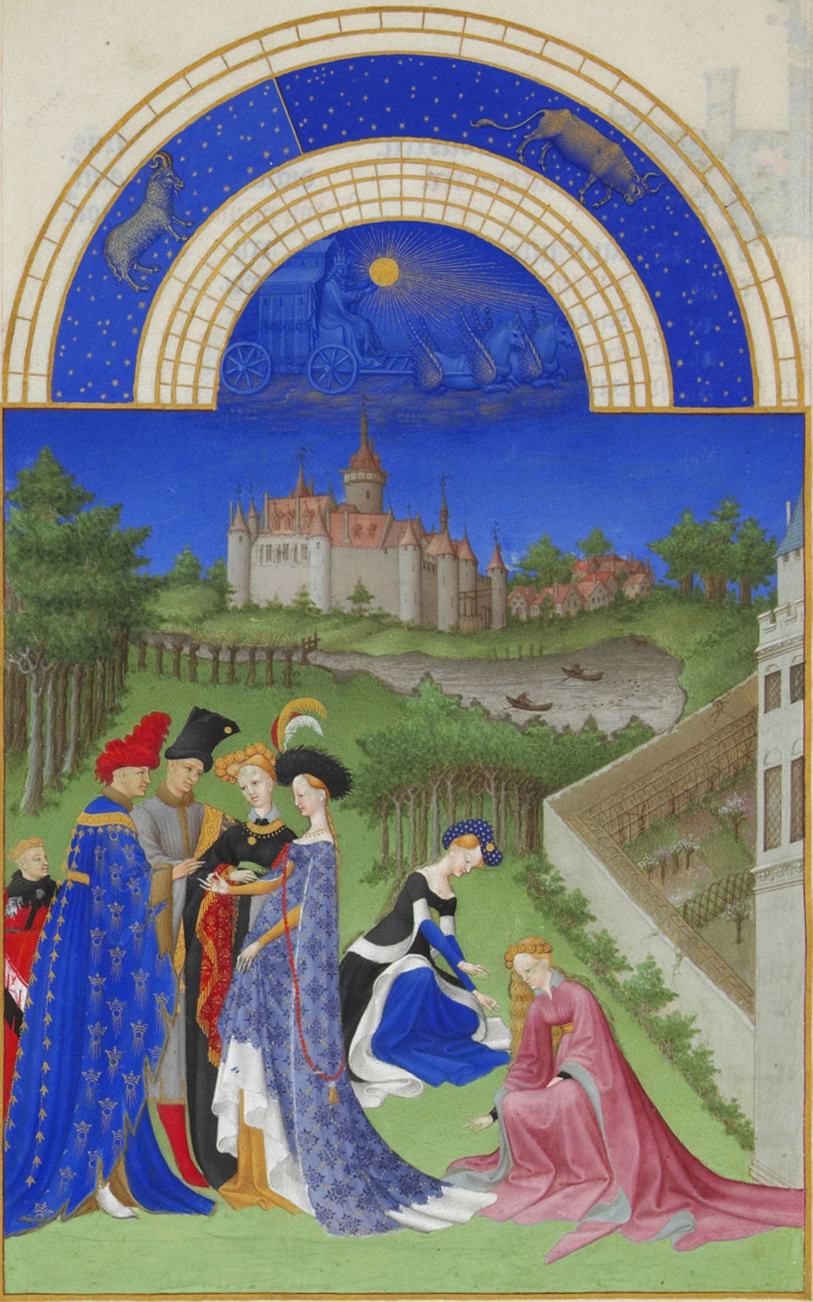 "Limbourg Brothers, ""The Book of Hours."" A pair of newlyweds exchanged rings in the garden, in the presence of family and friends"