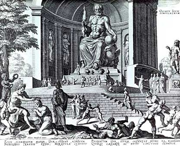 The Statue of Zeus at Olympia, Phidias created the 12 m (40 ft) tall statue of Zeus at Olympia about 435 BC. The statue was perhaps the most famous sculpture in Ancient Greece, imagined here in a 16th century engraving
